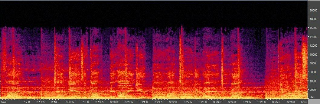Спектрограмма LAME 0.99.5, CBR 028 kbps (-q 0)