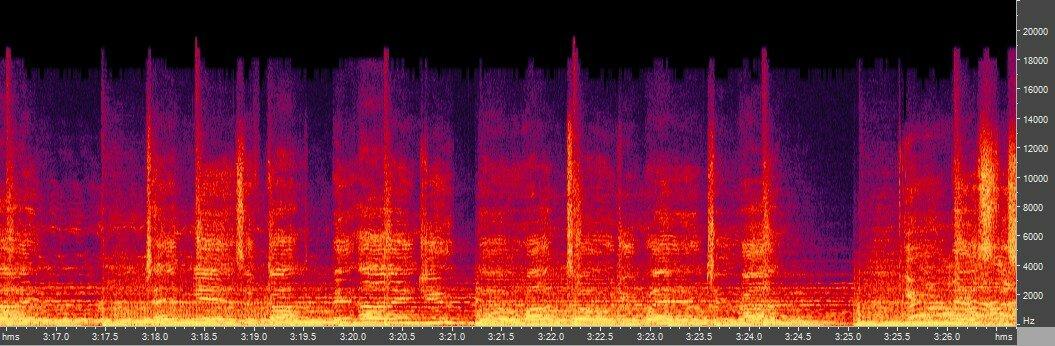 Спектрограмма Musepack q 0 (~210 кбит/с)