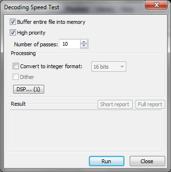 Decoding Speed Test settings
