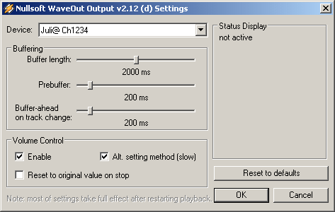 Winamp WaveOut, включение Alt. setting method